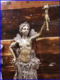 RARE 21 Angels Fairy Women Naked HEAVY Vintage Brass BRONZE Light WALL SCONCE