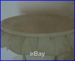 RARE Pair LARGE Alabaster Urns with Figural Handles Planters
