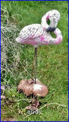 RARE Pair of Large Antique Cement Flamingos Mid Century Yard Garden Statues -WOW