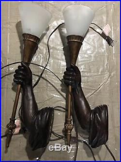 Rare Pair Hand Carved Sconces Torch Castle Statues Wall Art Lamp /Light