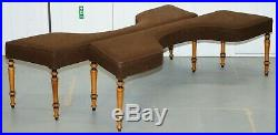 Rare Pair Of 19th Century Fruitwood Biedermeier Large Curved Window Seat Benches