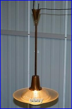 Rare Pair Of Vintage MID Century Modern Copper Chandeliers Twin Glass Shades