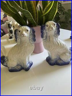 Rare Pair of Antique Large Staffordshire Blue King Charles Spaniel Mantle Dogs