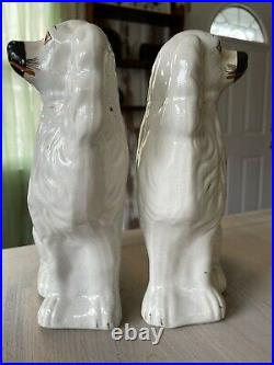 Rare Pair of Antique Large Staffordshire White King Charles Spaniel Mantle Dogs