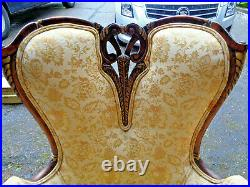 STUNNING PAIR LARGE FRENCH UPHOLSTERED & CARVED ARM CHAIRS With FLARED ARM RESTS