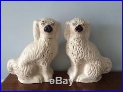 Stunning Antique Very Large Matching Pair Staffordshire Spaniel Dogs 15