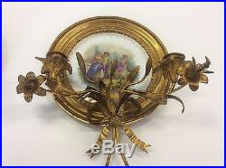 Stunning Pair Antique French white and golg SEVRES Sconces Rococo Ormolu