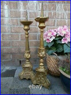 Stunning Pair Large Antique French Church Altar Candelabras Candles