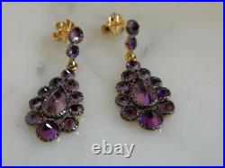 Stunning Pair Of 9 Ct Gold & Silver Antique Design Large Amethyst Drop Earrings