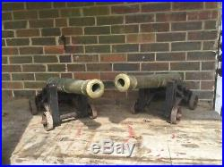 Superb Pair, Large Ornamental Brass & Iron Cannons. Fire side. Front Door