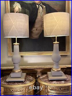 Unique Pair Of Large Oka Style Painted Gilt Decorated Table Lamps Refurbished
