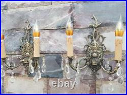VINTAGE ORNATE Classic SOLID BRASS WALL Crystal Wired Pair of SCONCES applique