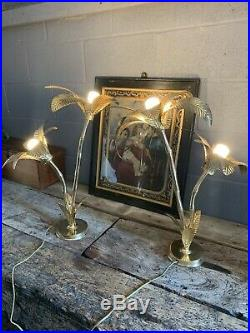 Vintage Antique Style Large Hollywood Regency Gold Brass Palm Tree Lamp PAIR Pos