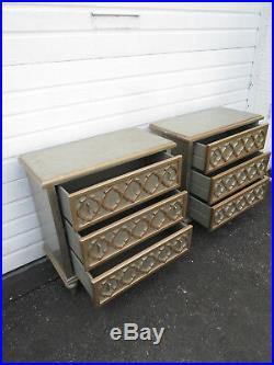 Vintage Hollywood Regency Pair of Large Nightstands Small Dresser Cabinets 9408
