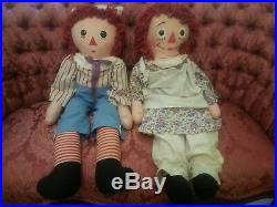 Vintage Large Doll Pair RAGGEDY ANN and ANDY Dolls Approx 32 Original Owner