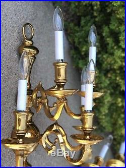 Vintage Large Pair Polished Cast Brass Colonial 5 Light Candle wall Sconces 20