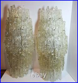 Vintage Massive PAIR of Lucite Acrylic Frozen Ice Wall Sconces Light from Hotel