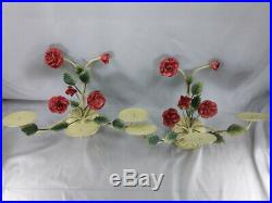 Vintage Pair Italian Tole 3 Arm Large Candle Wall Sconces Shabby Chic Red Roses