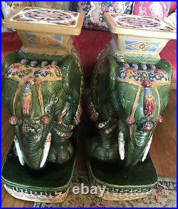 Vintage Pair Large Green Ceramic Elephant Garden Stool Side Table Plant Stand