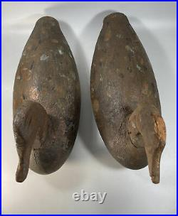 Vintage Pair Ned Burgess NC Antique Carved Solid Wood Duck Decoys Large 15