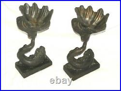 Vintage Pair Of Large & Heavy Bronze Dolphin Koi Fish Statue Sculptures