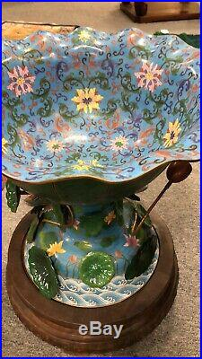 Vintage Pair Of large heavy Lotus Form Chinese Cloisonne Fishbowls