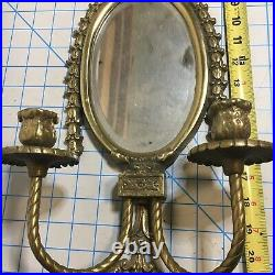 Vintage Pair of Brass Mirrored Double Candle Ornate Wall Sconces 24