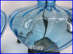 Vtg Large Pair Mid Century Blue Glass Bubble Table Lamps Hollywood Regency