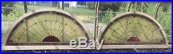 Wonderful Pair of Large Antique Stained Glass Windows Half Round 62 Each